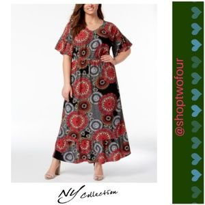 NY Collection Plus Petite  Red Printed Maxi Dress